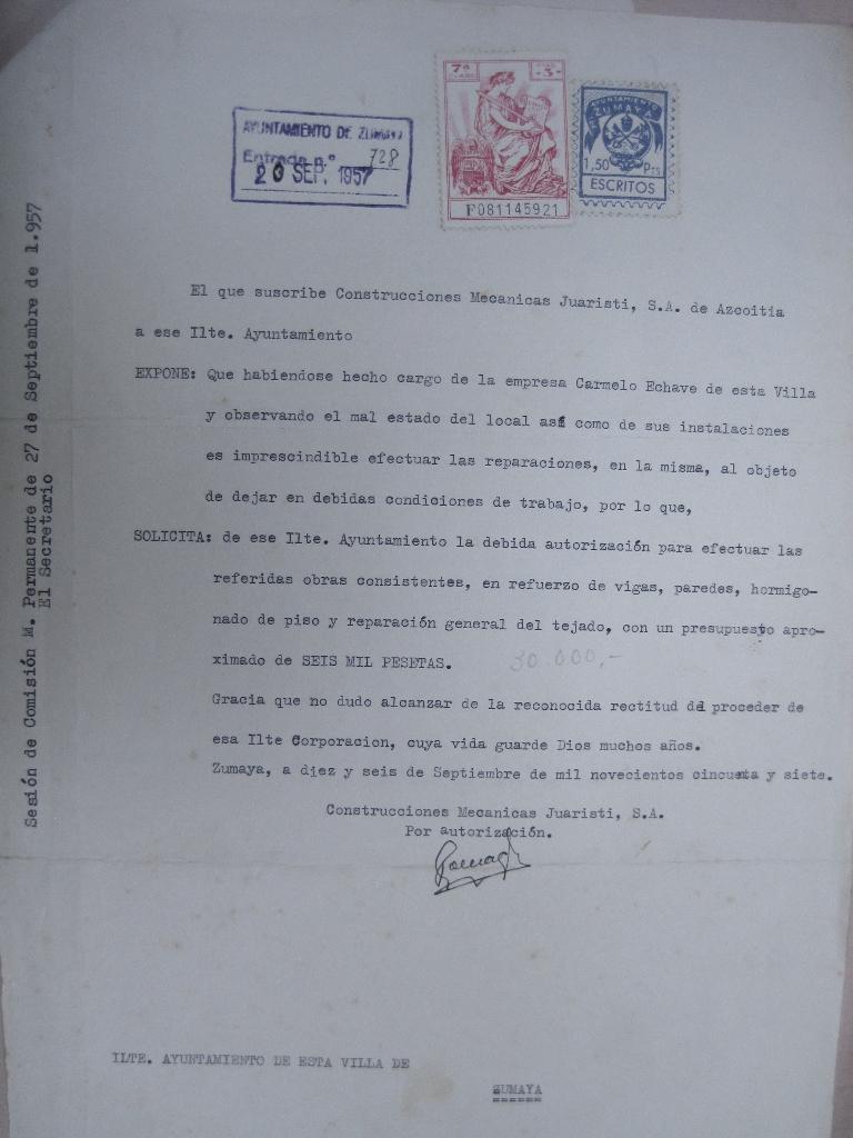 Solicitud Permiso Obra, 1957